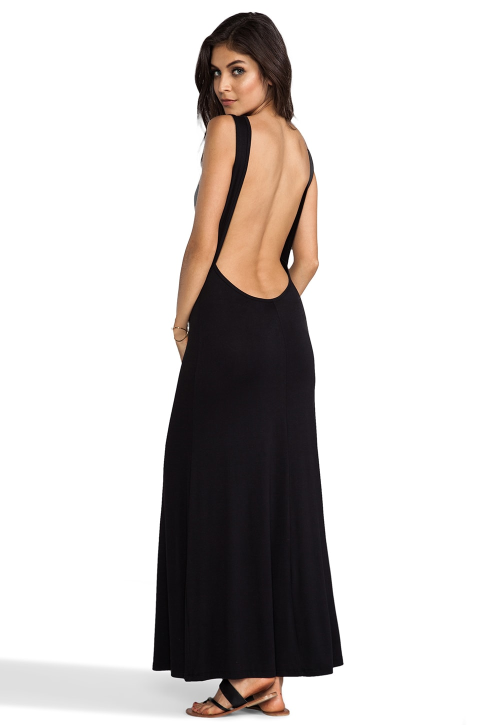 Blue Life Open Back Maxi in Black