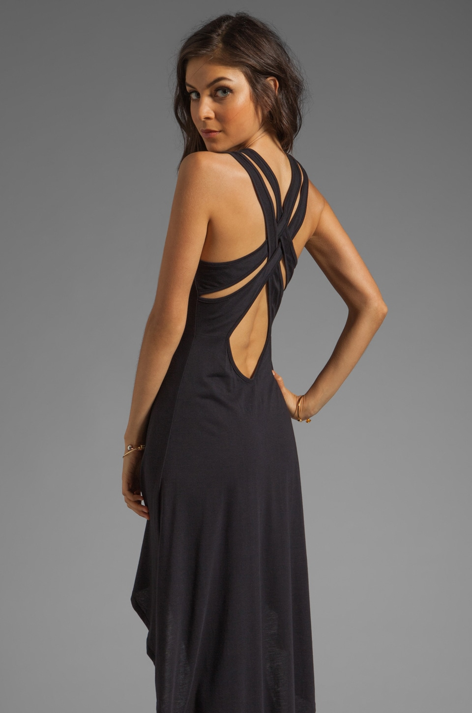 Blue Life Criss Cross Back High Low Dress in Black