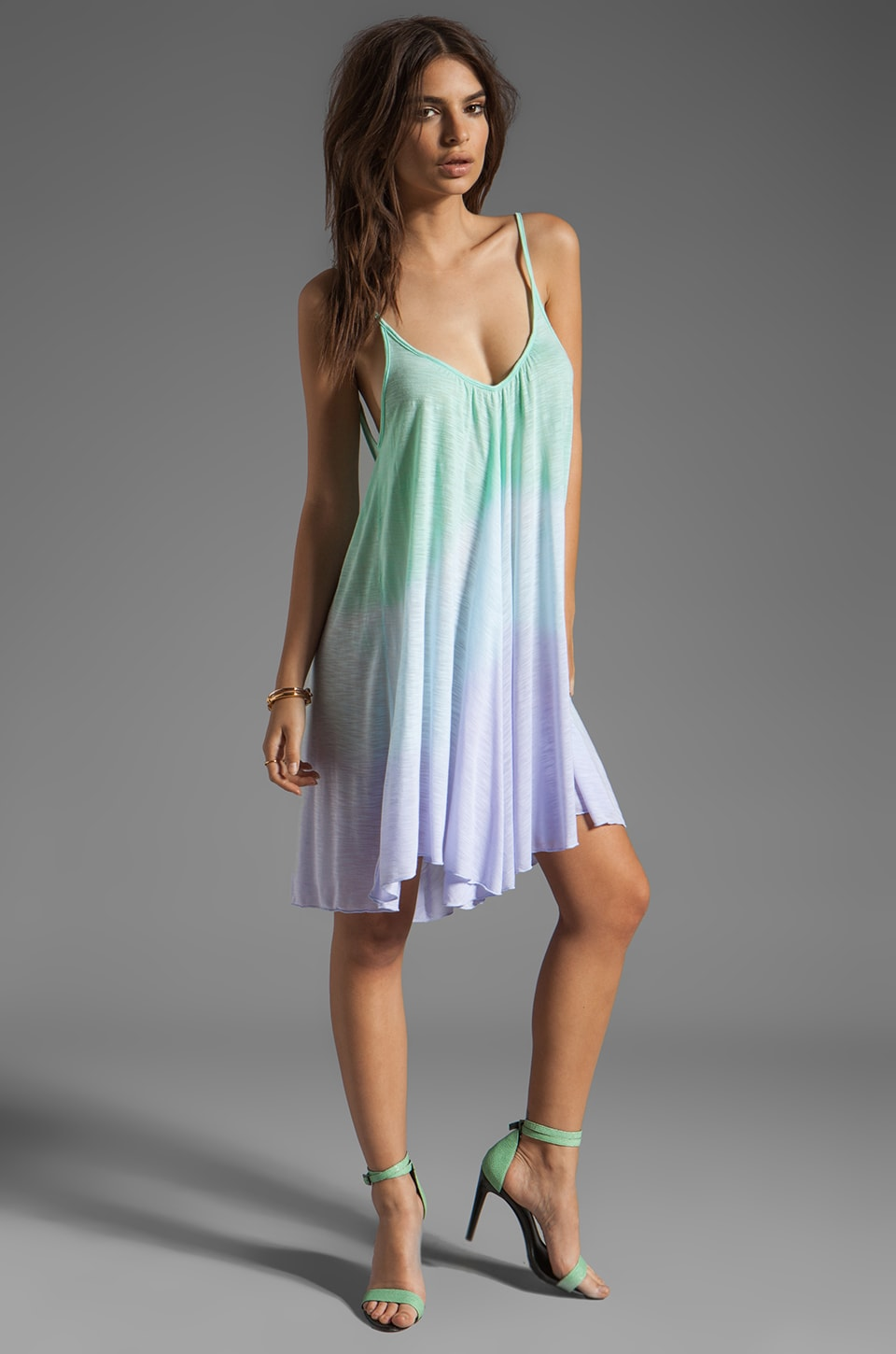 Blue Life Tie Dye V Neck Babydoll Dress in Mint/Ocean Breeze