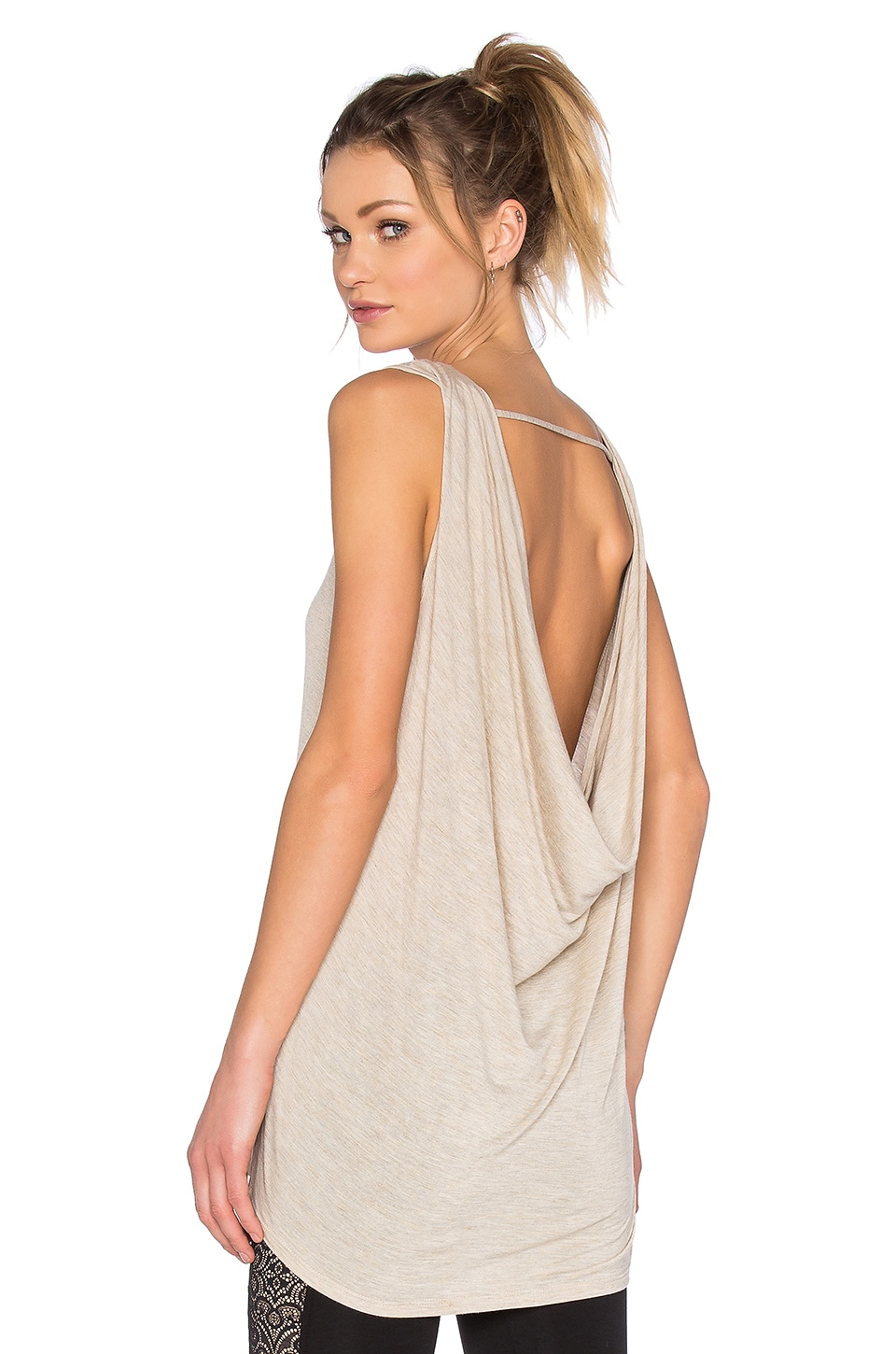 Blue Life Fit Cowl Tank in Oatmeal