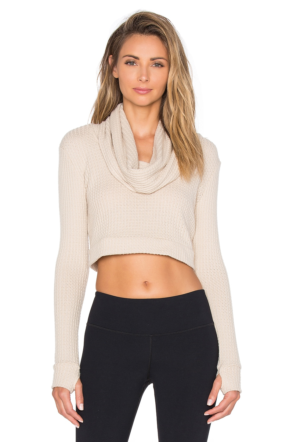 Blue Life Fit Cozy Crop in Oatmeal