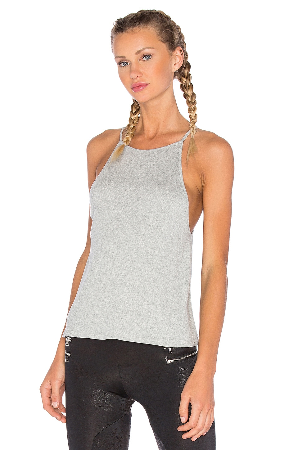 Blue Life High Neck Tank in Grey