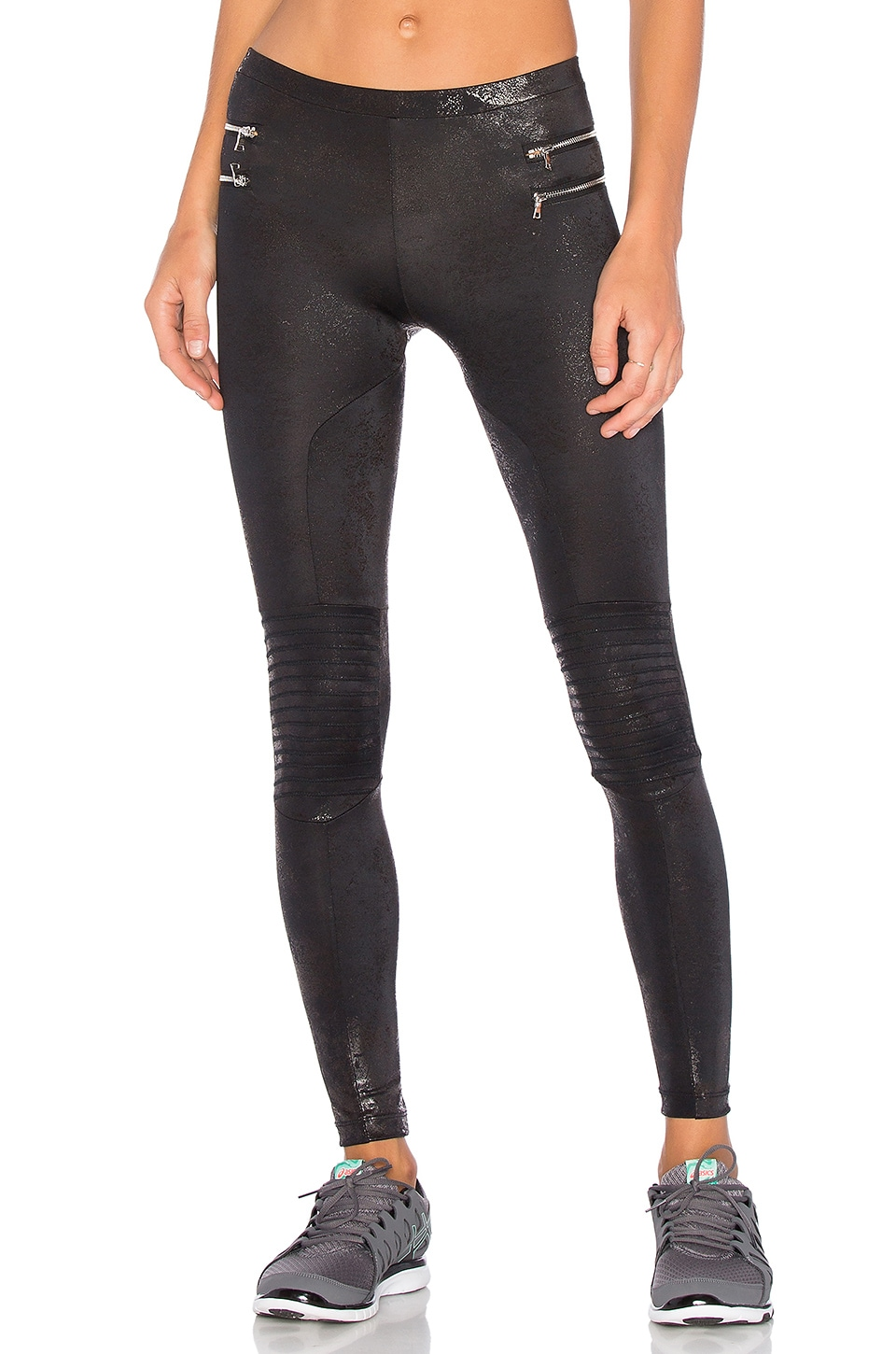 Blue Life Zipper Moto Legging in Metallic Black