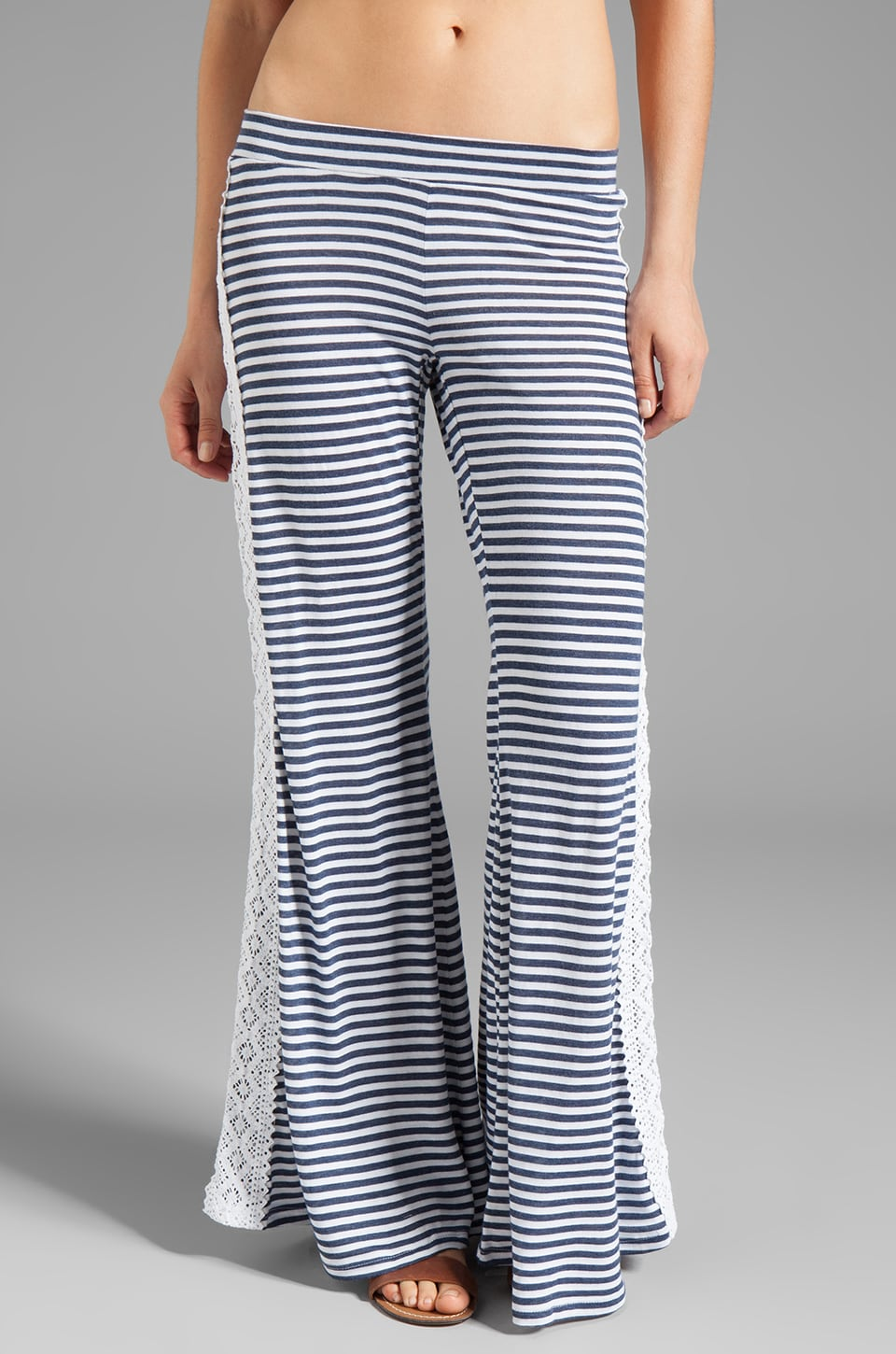 Blue Life Bell Bottom Pant in Heather Blue Stripe