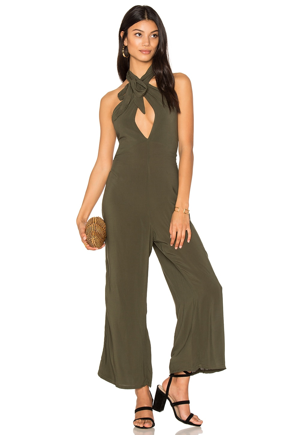 Blue Life Electra Tie Front Jumpsuit in Olive Solid