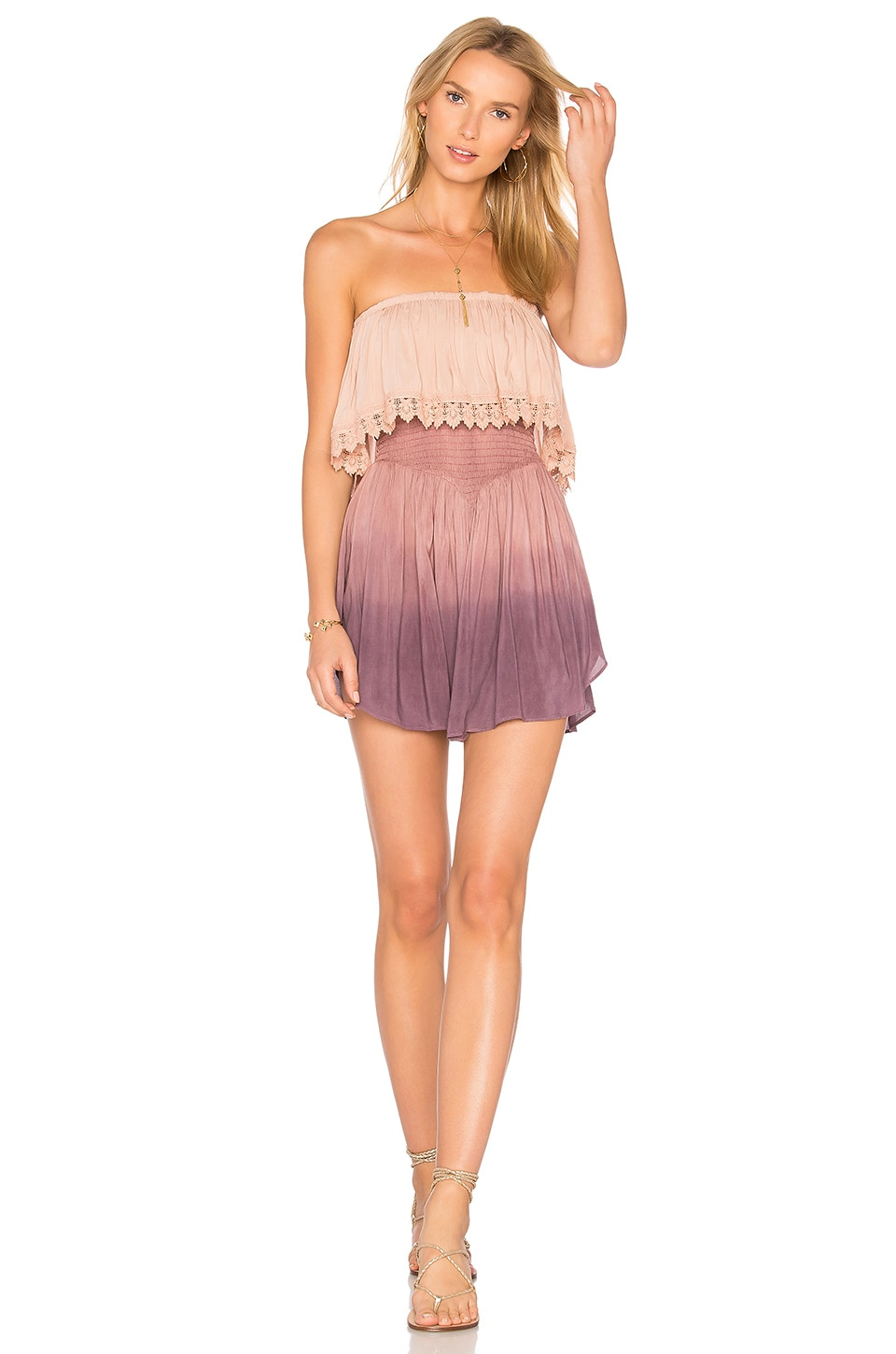 Blue Life Festival Lace Romper in Magic Ombre