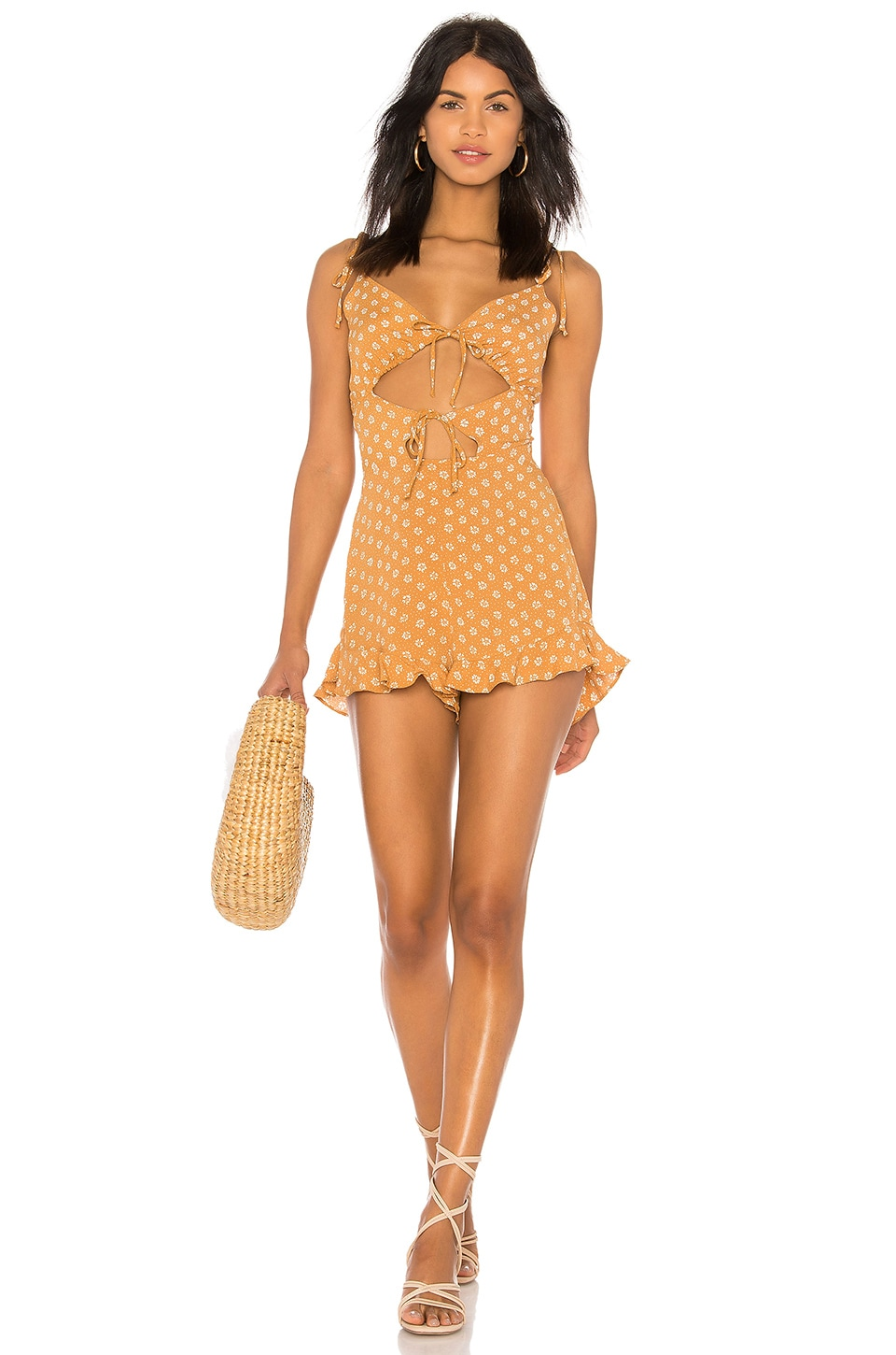 Blue Life Retro Romper in Primrose Polka Dot Butterscotch
