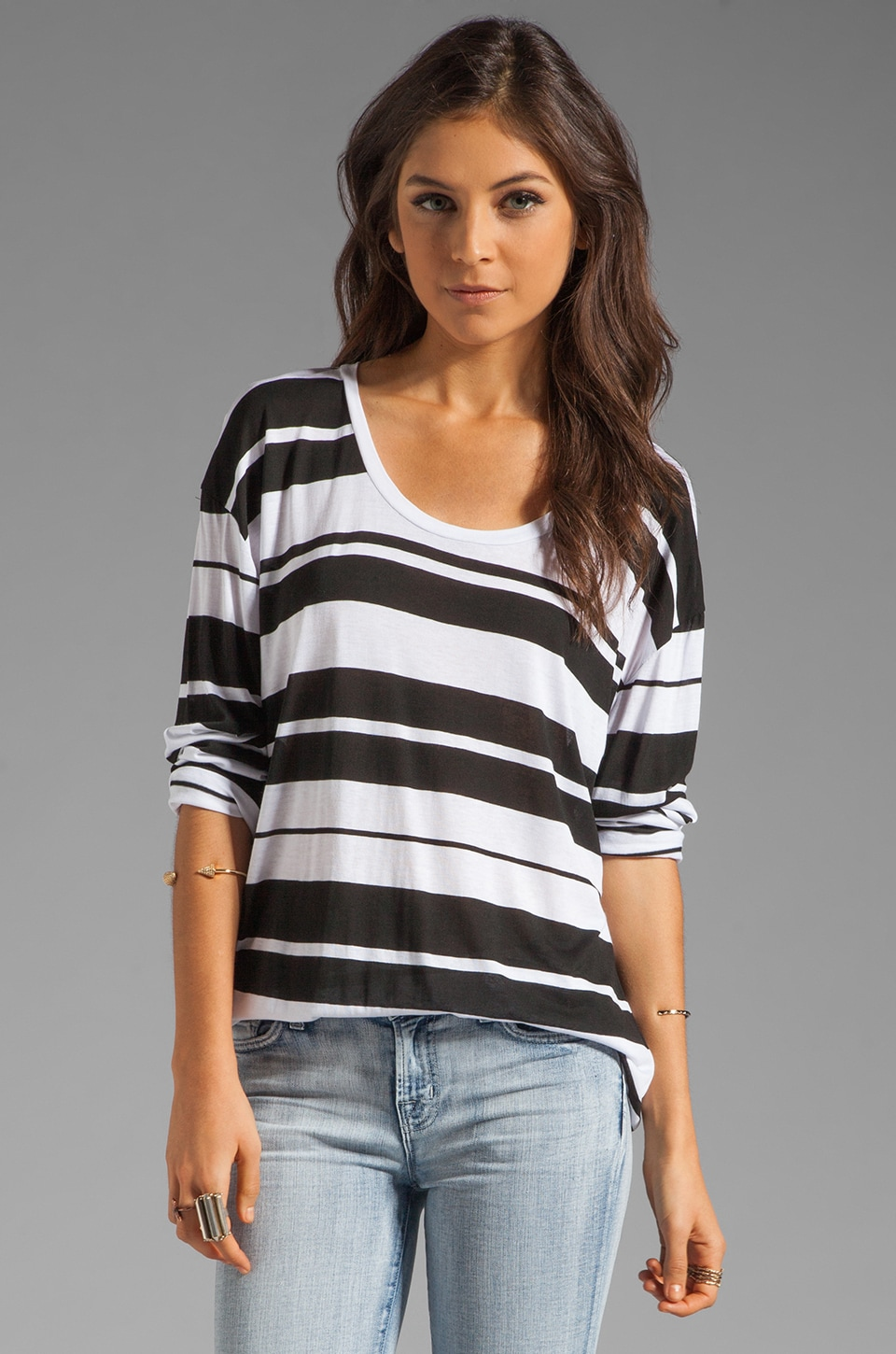 Blue Life Best Bum Long Sleeve Tee in Black/White Stripe