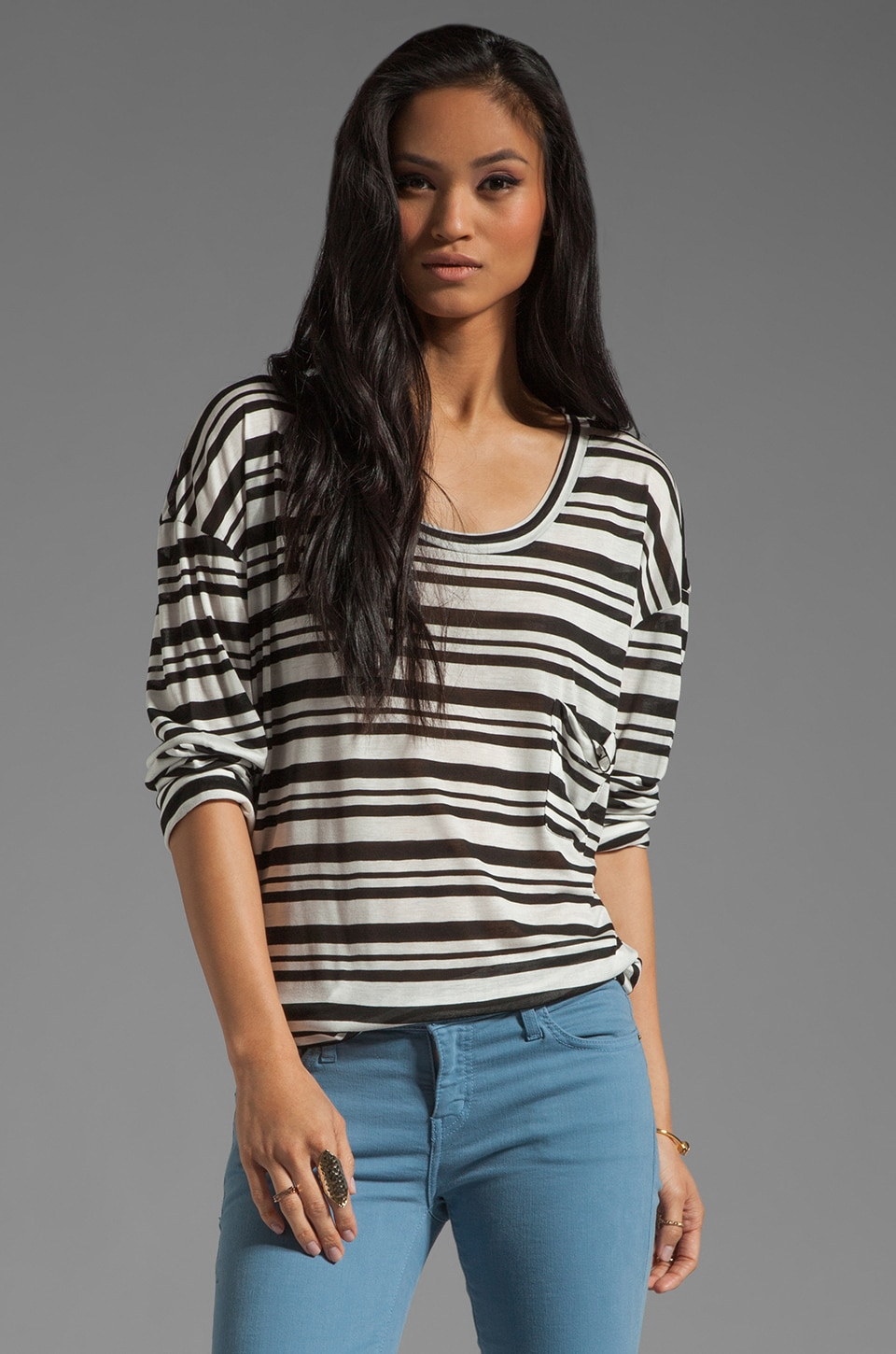Blue Life Stripe Long Sleeve Best Bum Top in Black/White