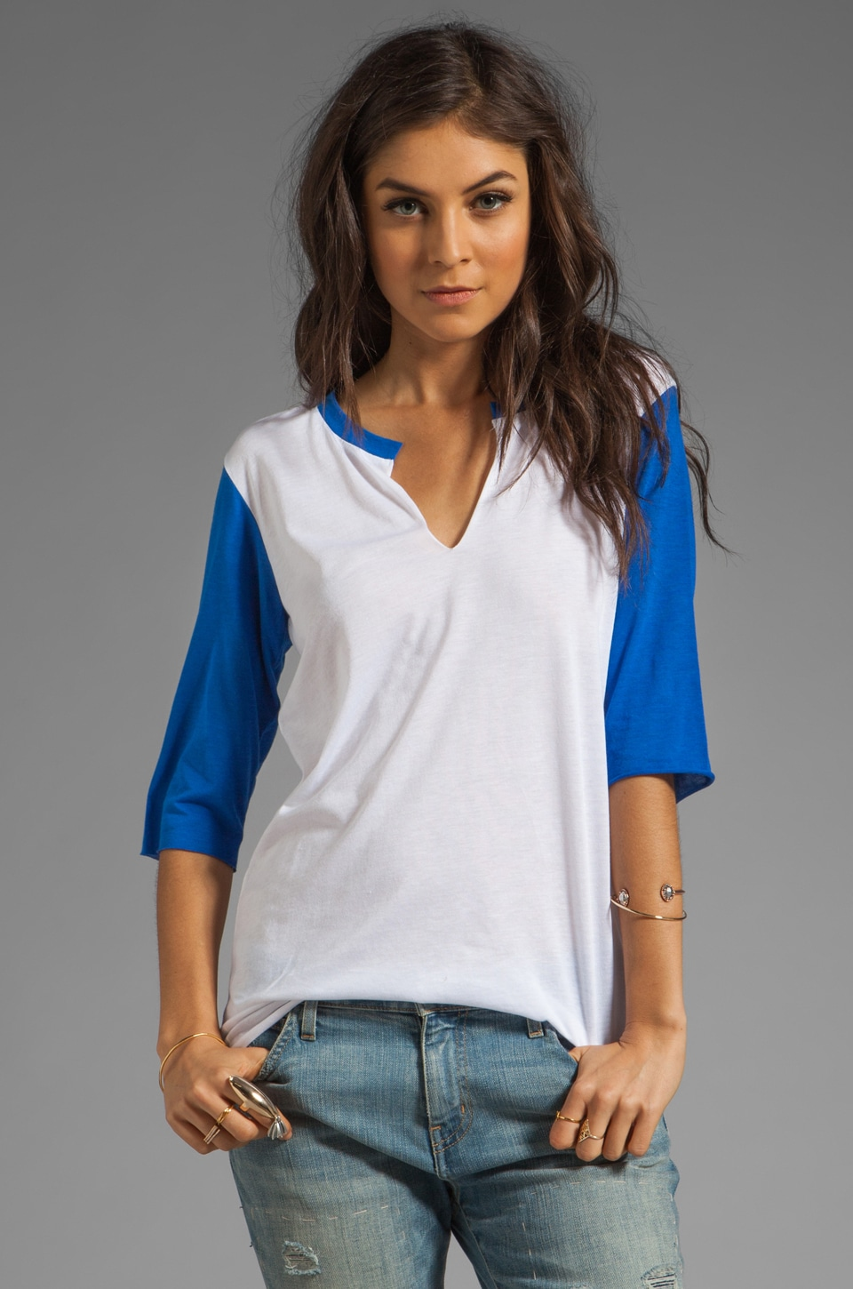 Blue Life Contrast Split Sleeve in White/Blue