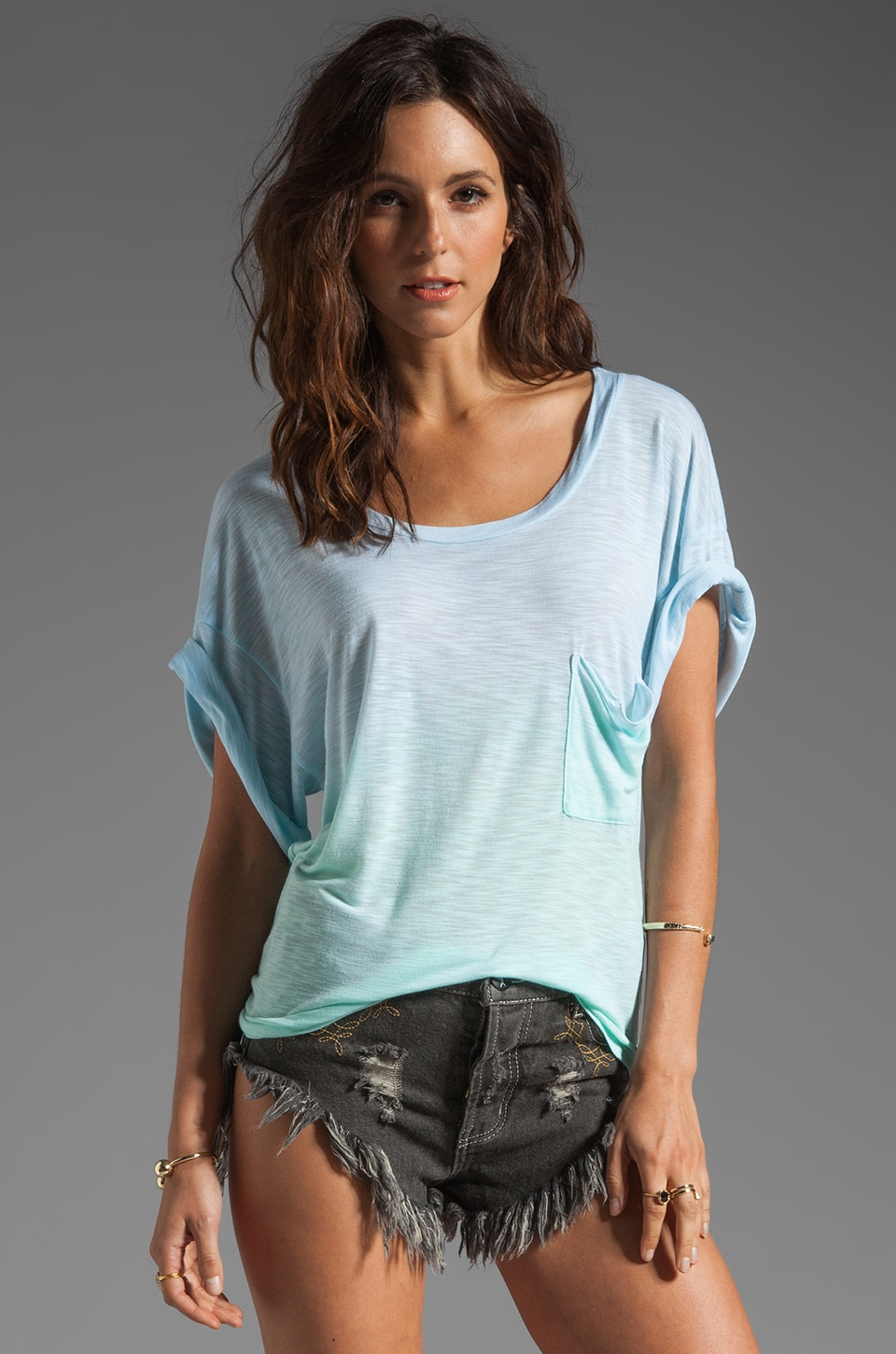 Blue Life Tie Die Best Bum Tee in Mint/Ocean Breeze