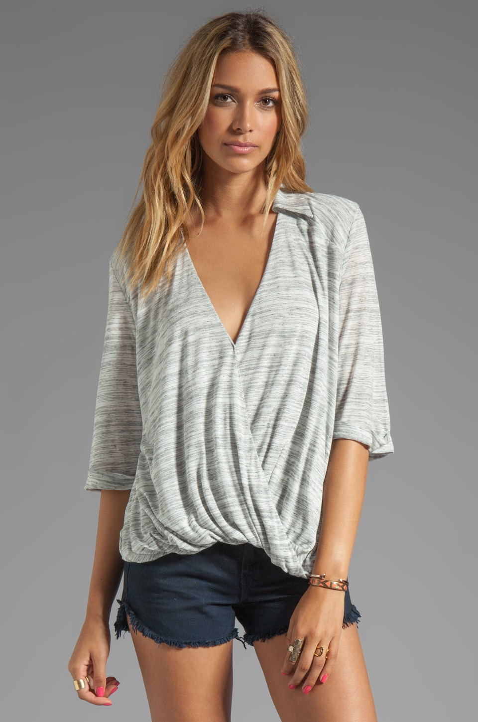 Blue Life Draped Blouse in Stone