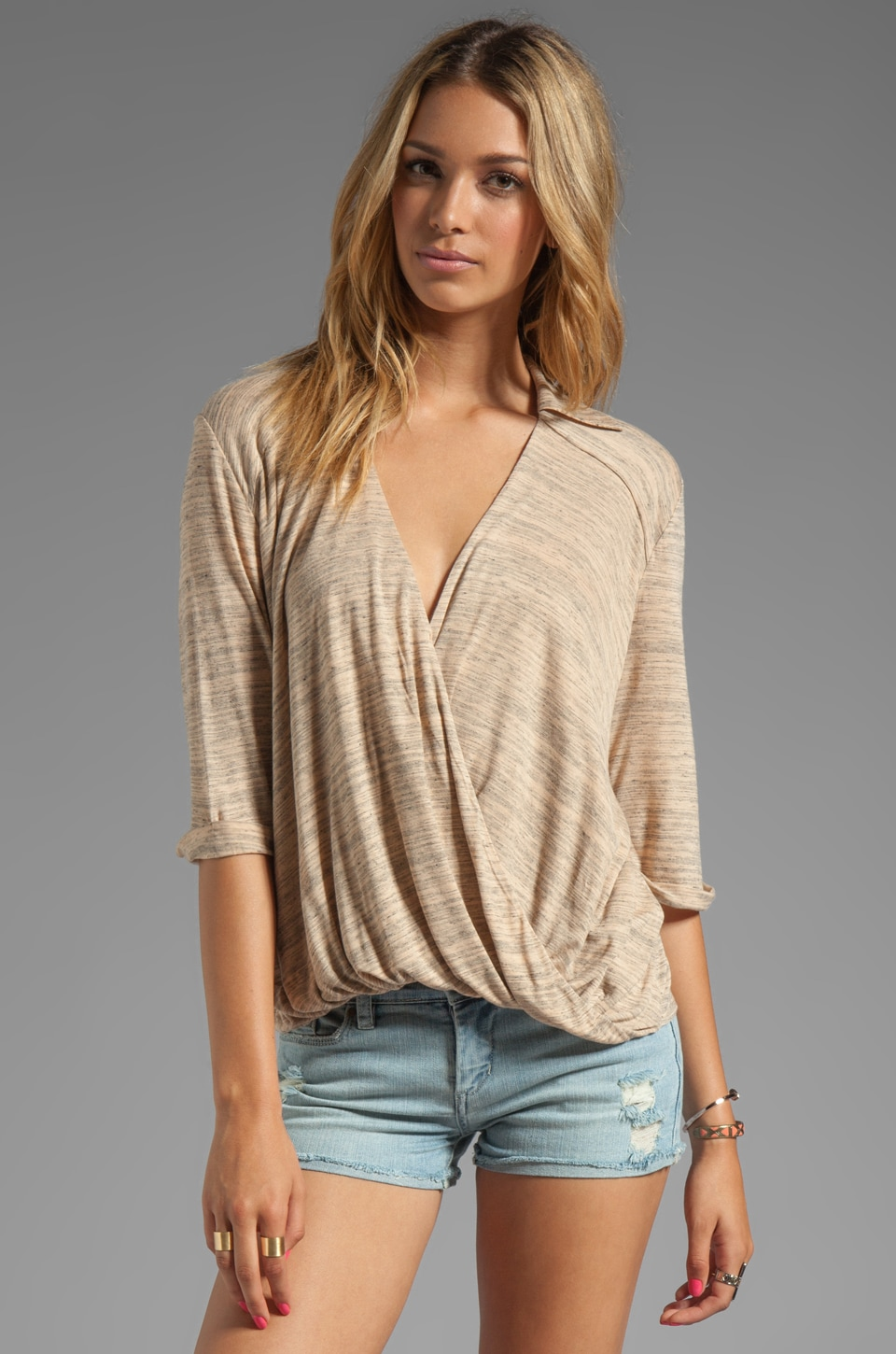 Blue Life Draped Blouse in Desert