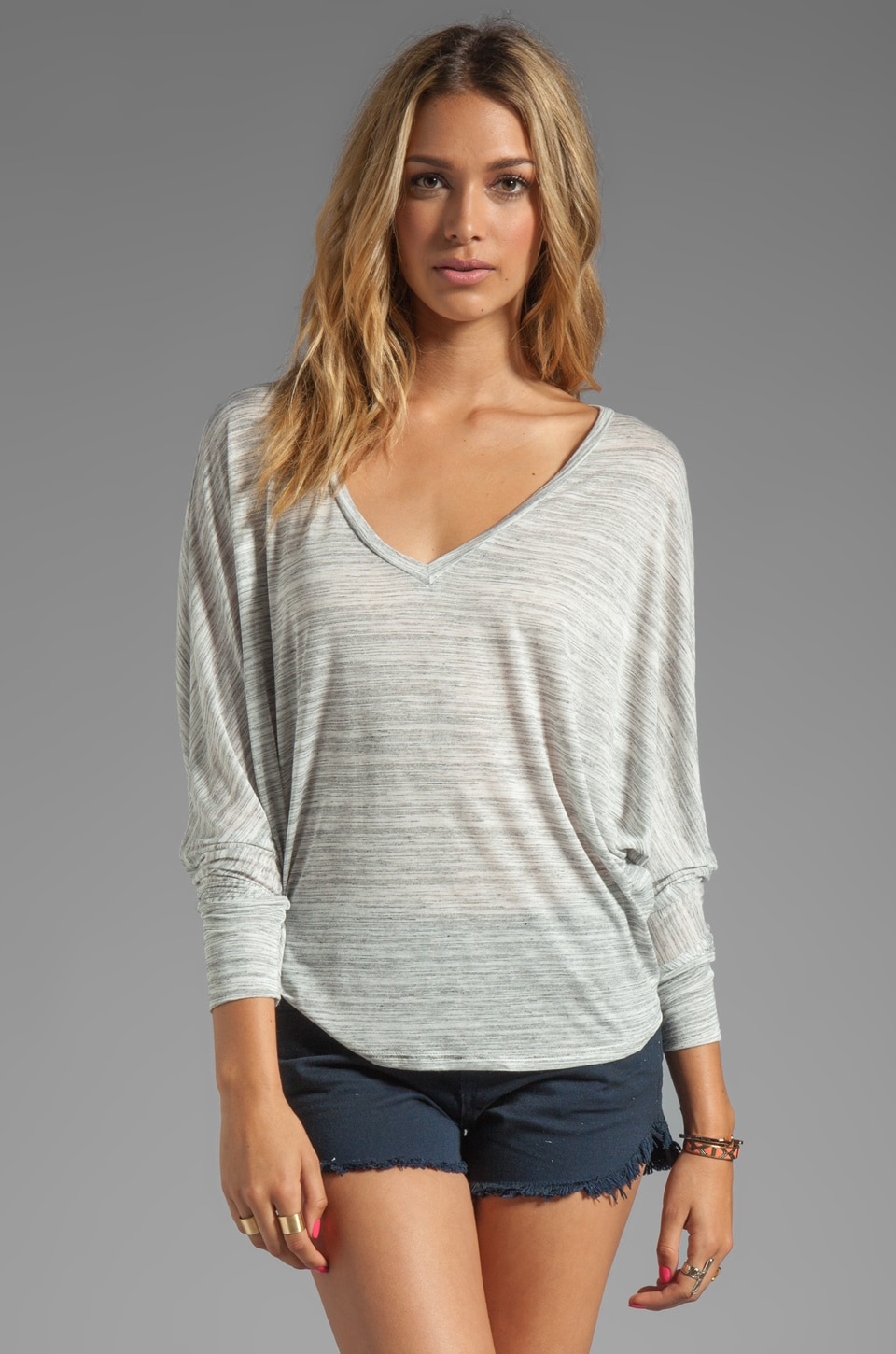 Blue Life V Neck Cocoon Top in Stone