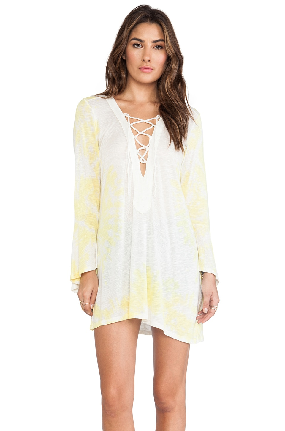 Blue Life Bell Sleeve Lace Up Tunic in Sunfade