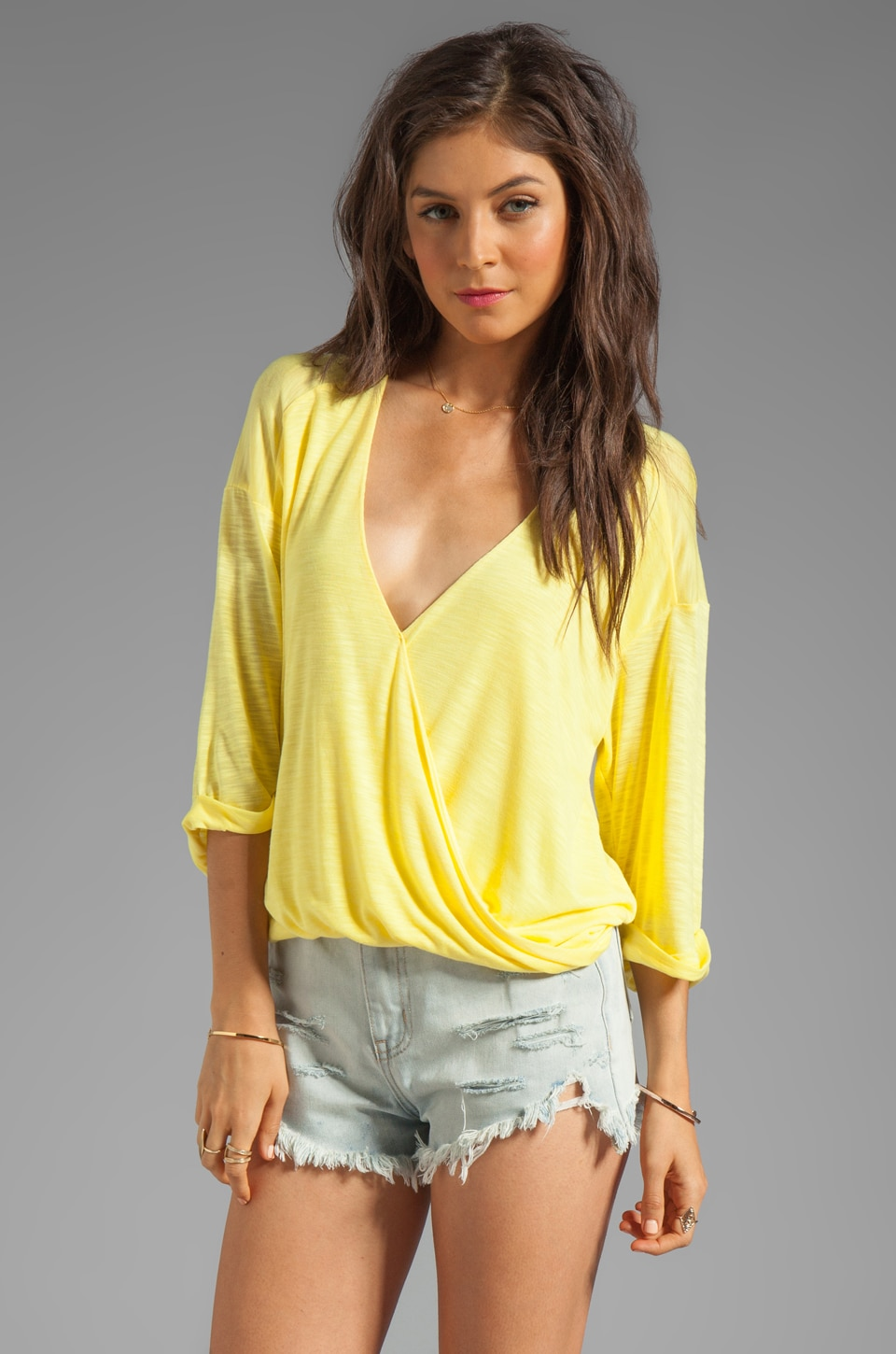 Blue Life 3/4 Sleeve Hayley Top in Sunbeam