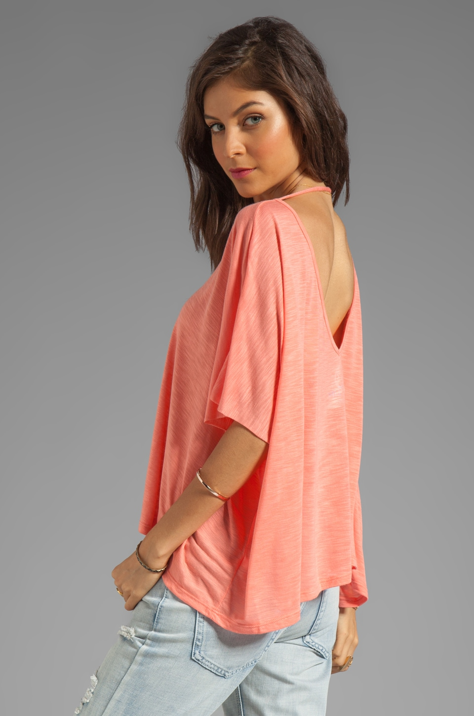 Blue Life Cropped Double V Neck Top in Mesa