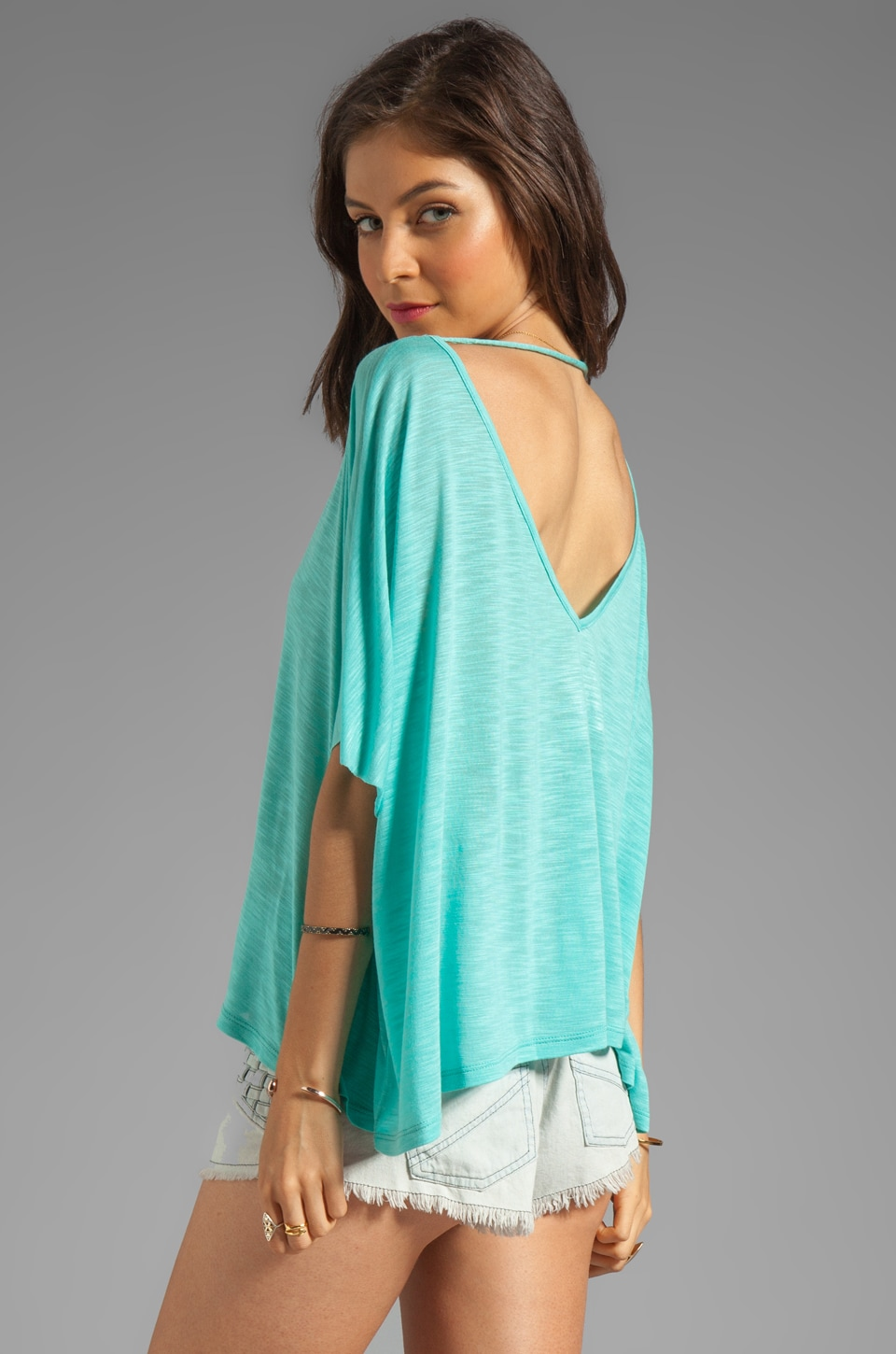 Blue Life Cropped Double V Neck Top in Agave