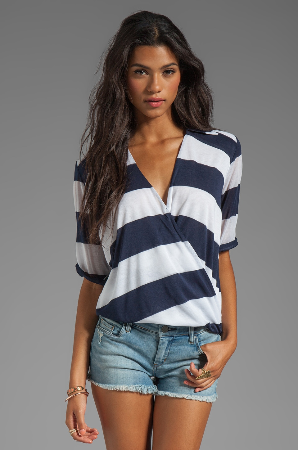 Blue Life Draped Blouse in Blue Stripe