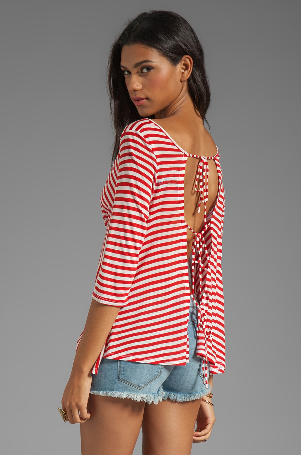 Blue Life Bare Belly Back Tie Top in Red Stripe