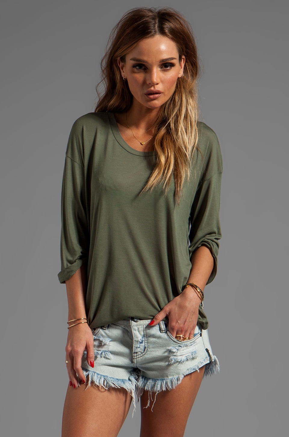 Blue Life Elbow Sleeve Best Bum Tee in Military Green