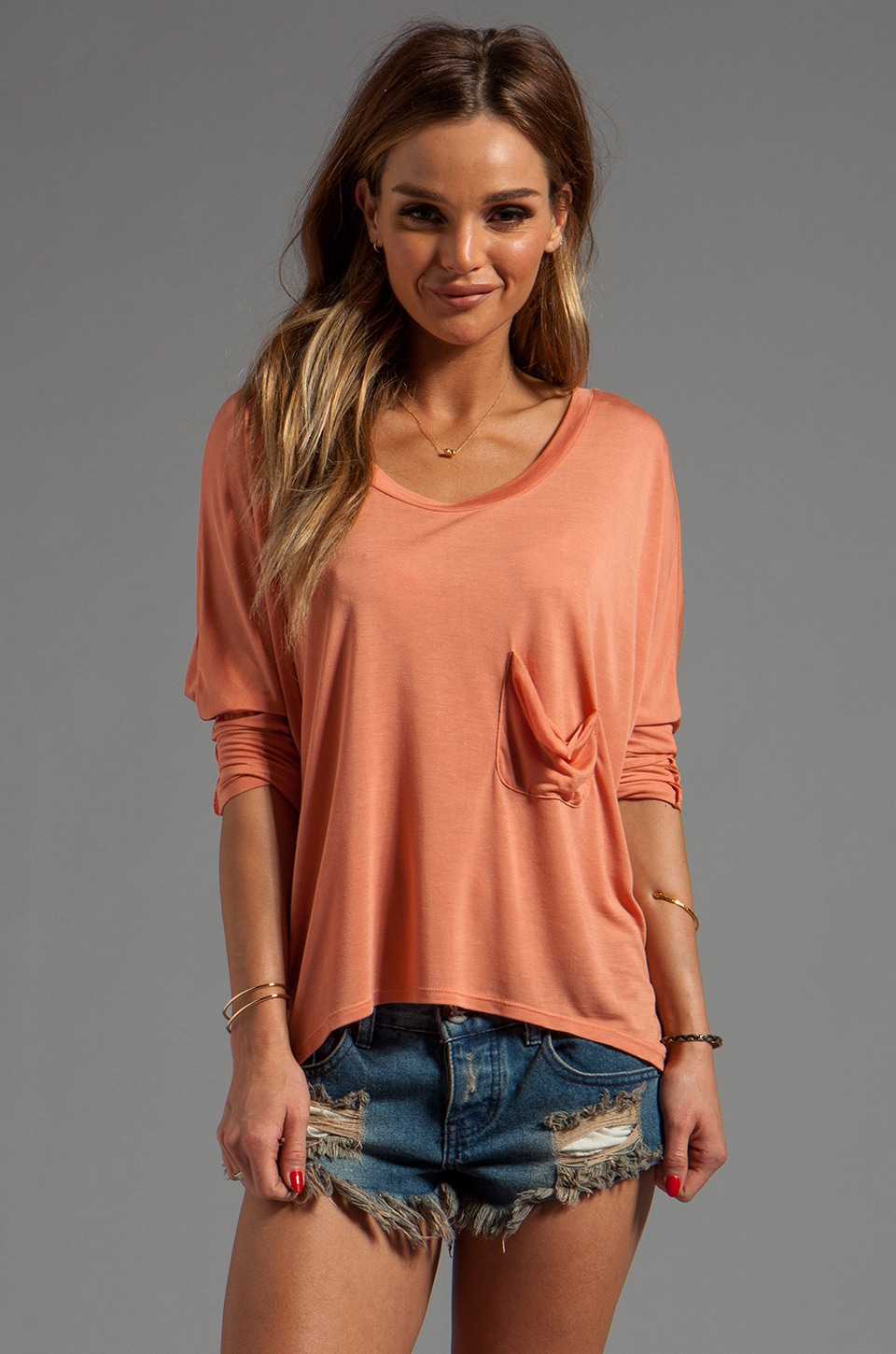 Blue Life Marteeni Pocket Top in Forbidden Peach