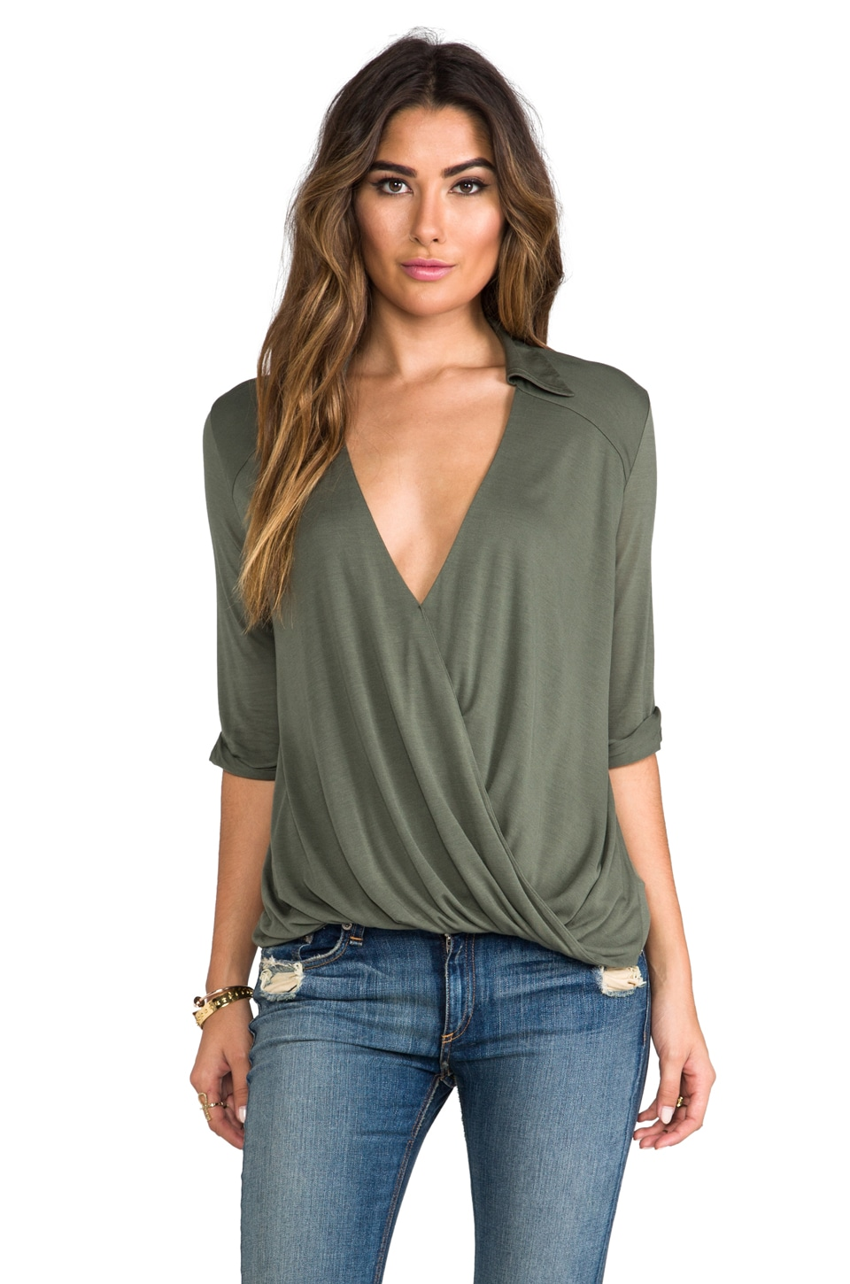 Blue Life Collared Hayley Top in Military Green