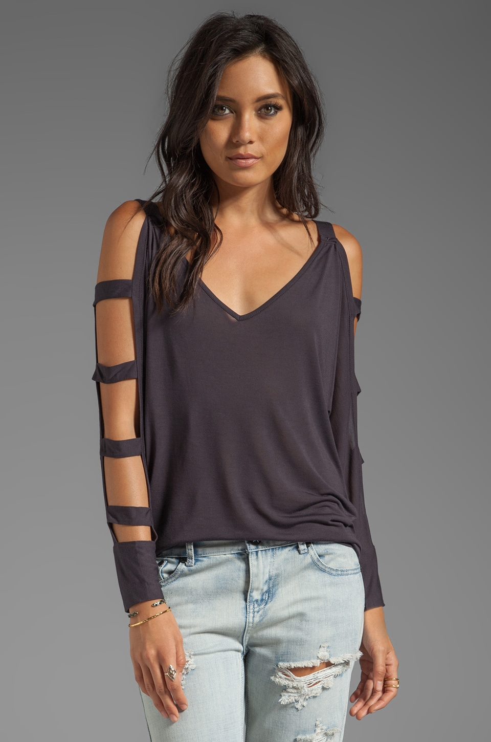 Blue Life Ladder Top in Faded Black