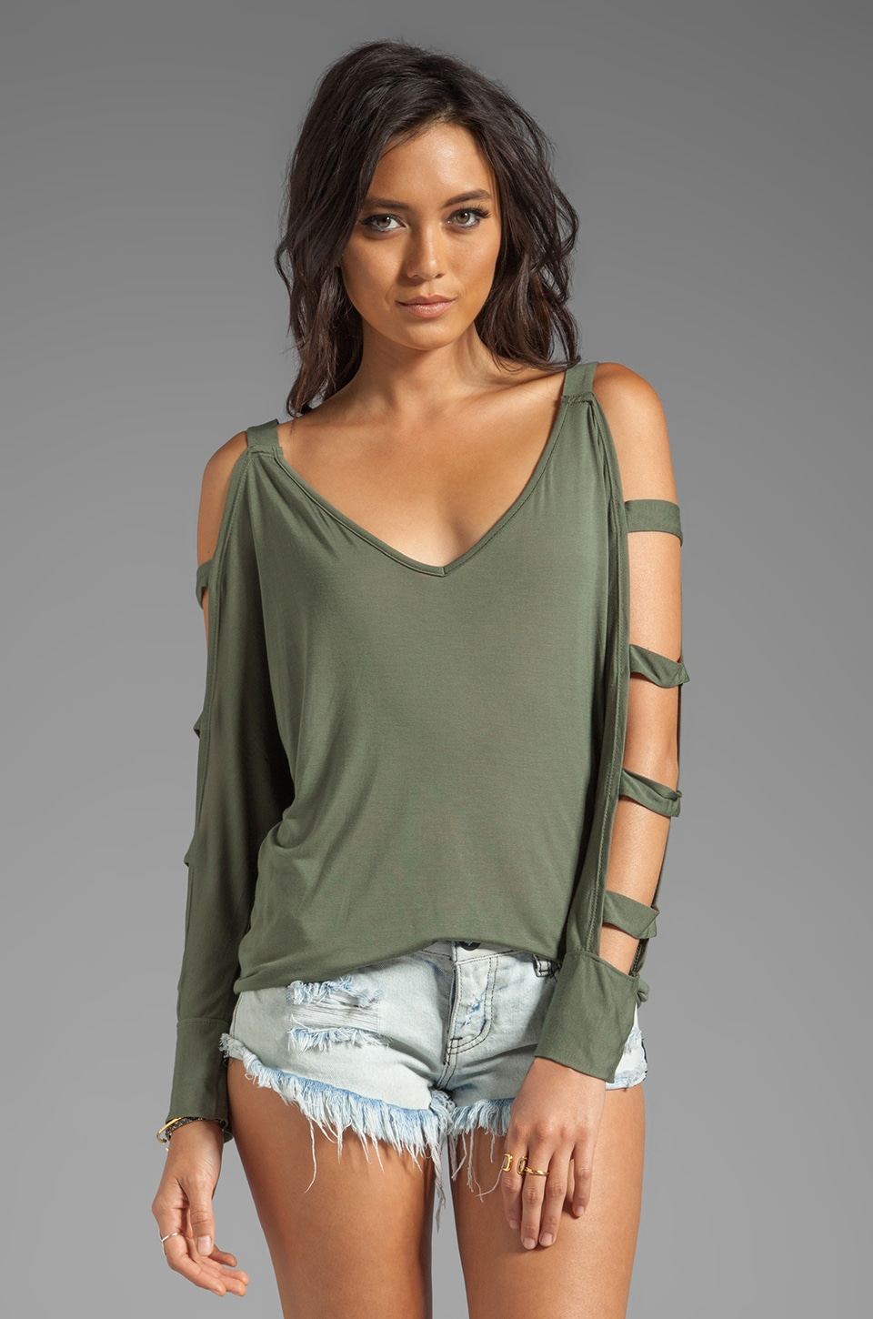 Blue Life Ladder Top in Military Green