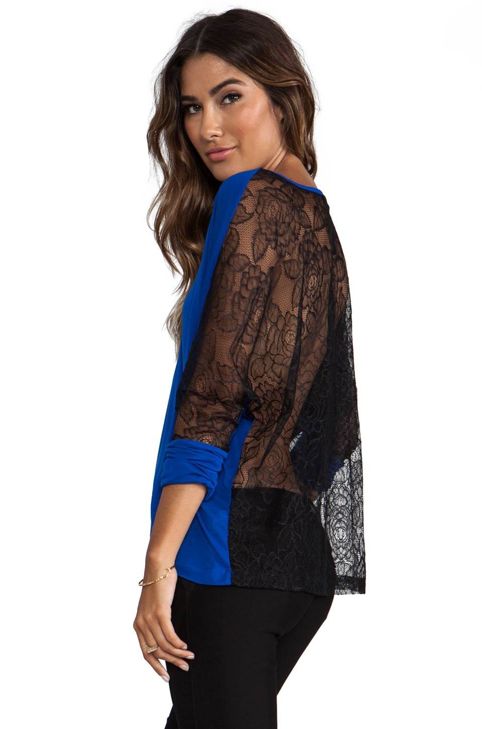 Blue Life Lace Black V-Neck in Cobalt
