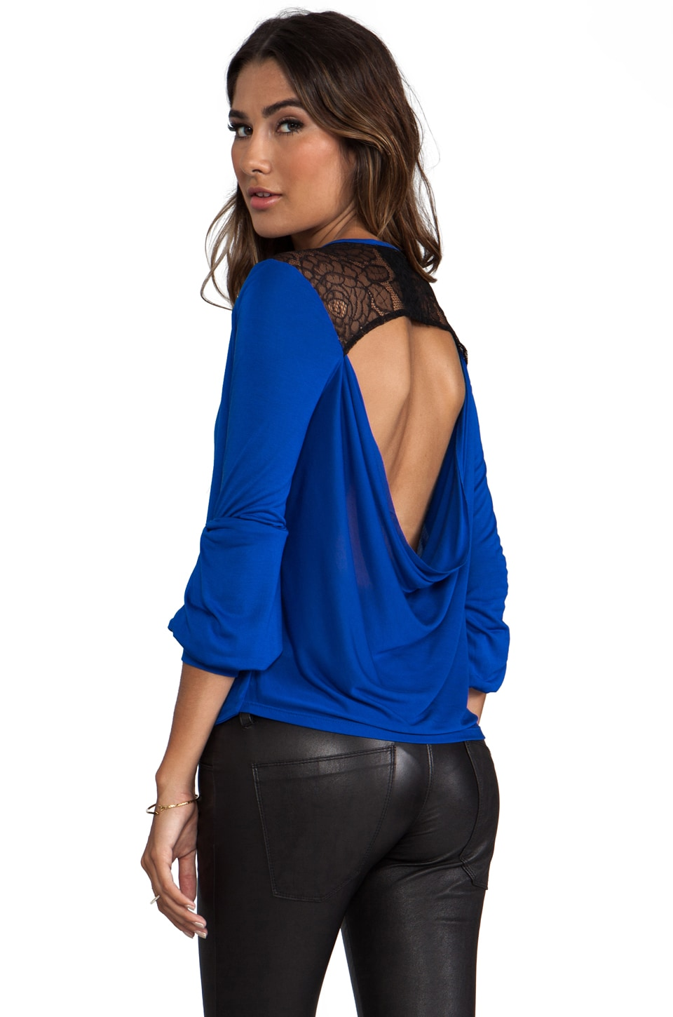 Blue Life Double Drape Top in Cobalt