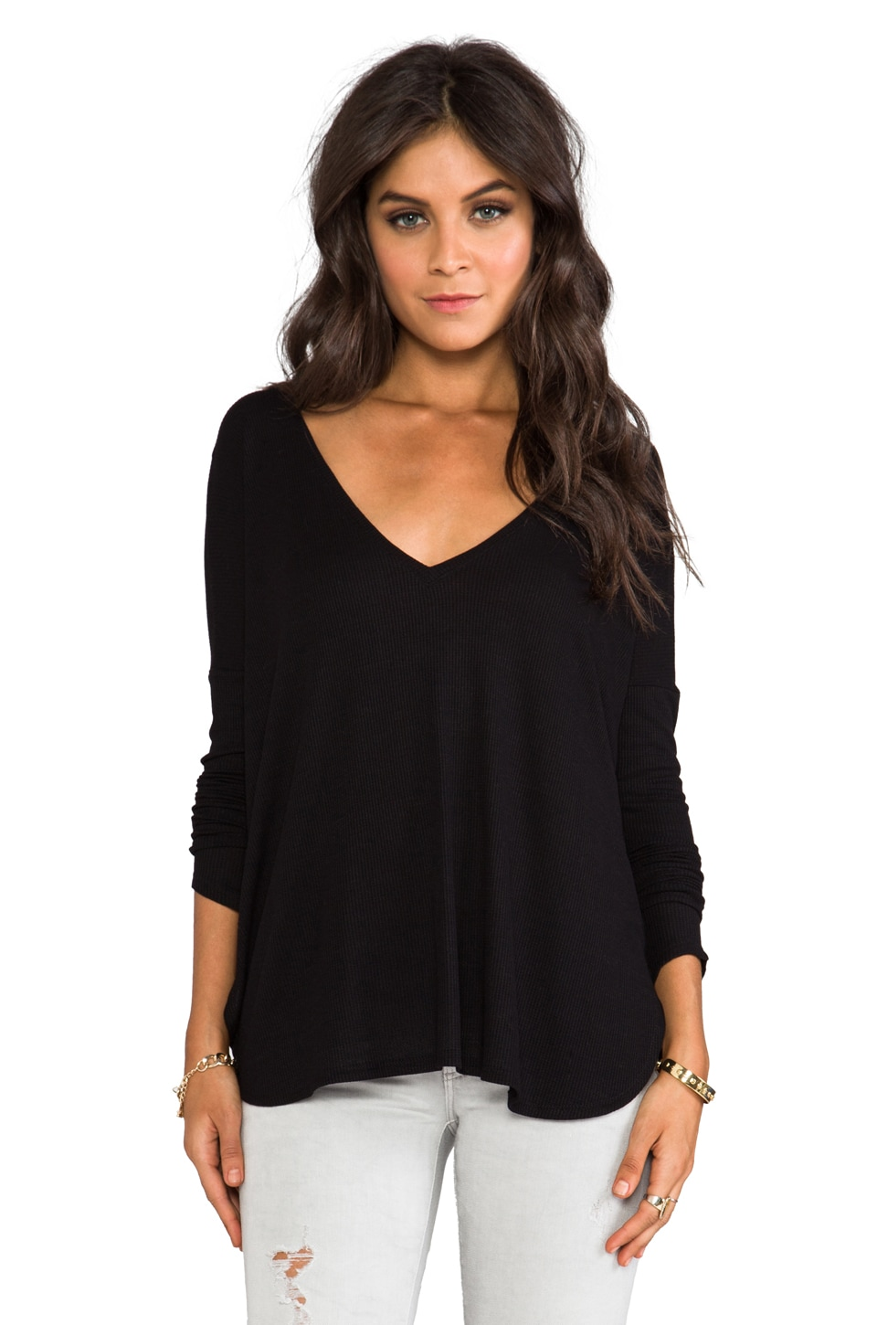 Blue Life V Neck Thermal Top in Faded Black