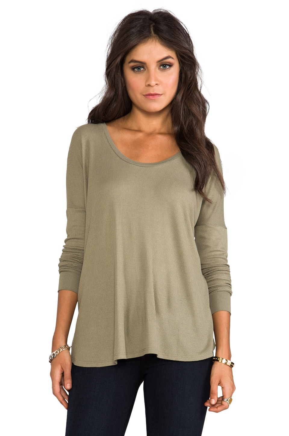 Blue Life Crew Neck Thermal Top in Army