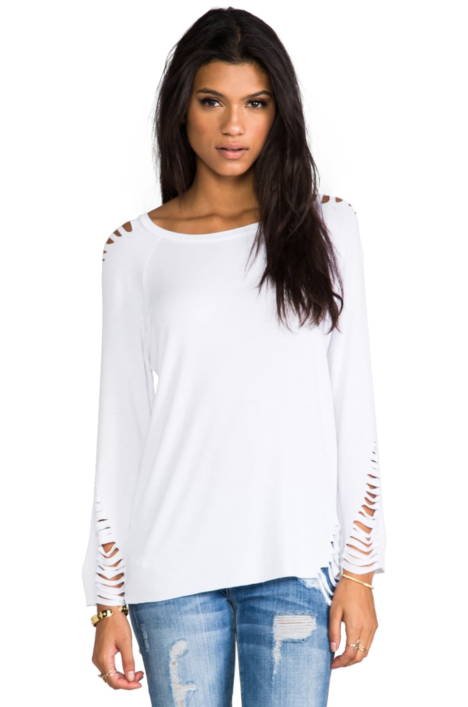 Blue Life Shredded Crew Top in Winter White