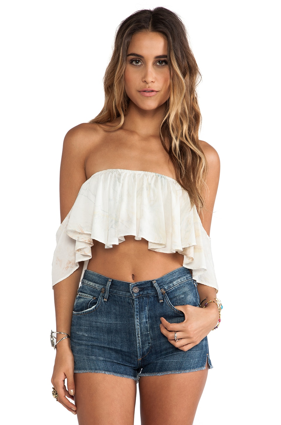 Blue Life Kiss Me Crop Top in Natural Marble