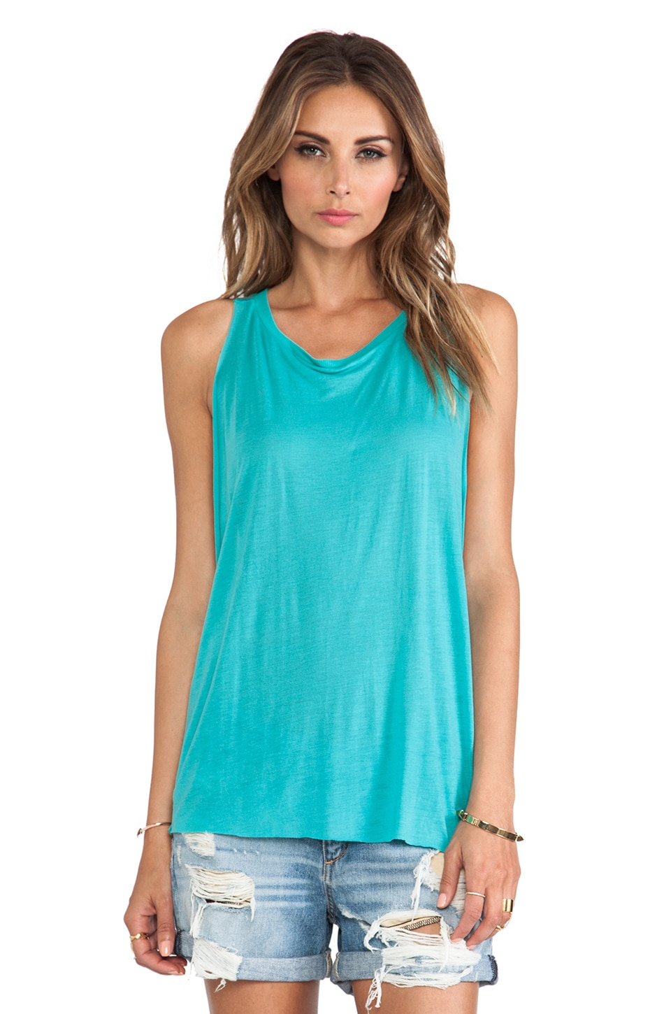 Blue Life Wild And Free Muscle Tee in Mint