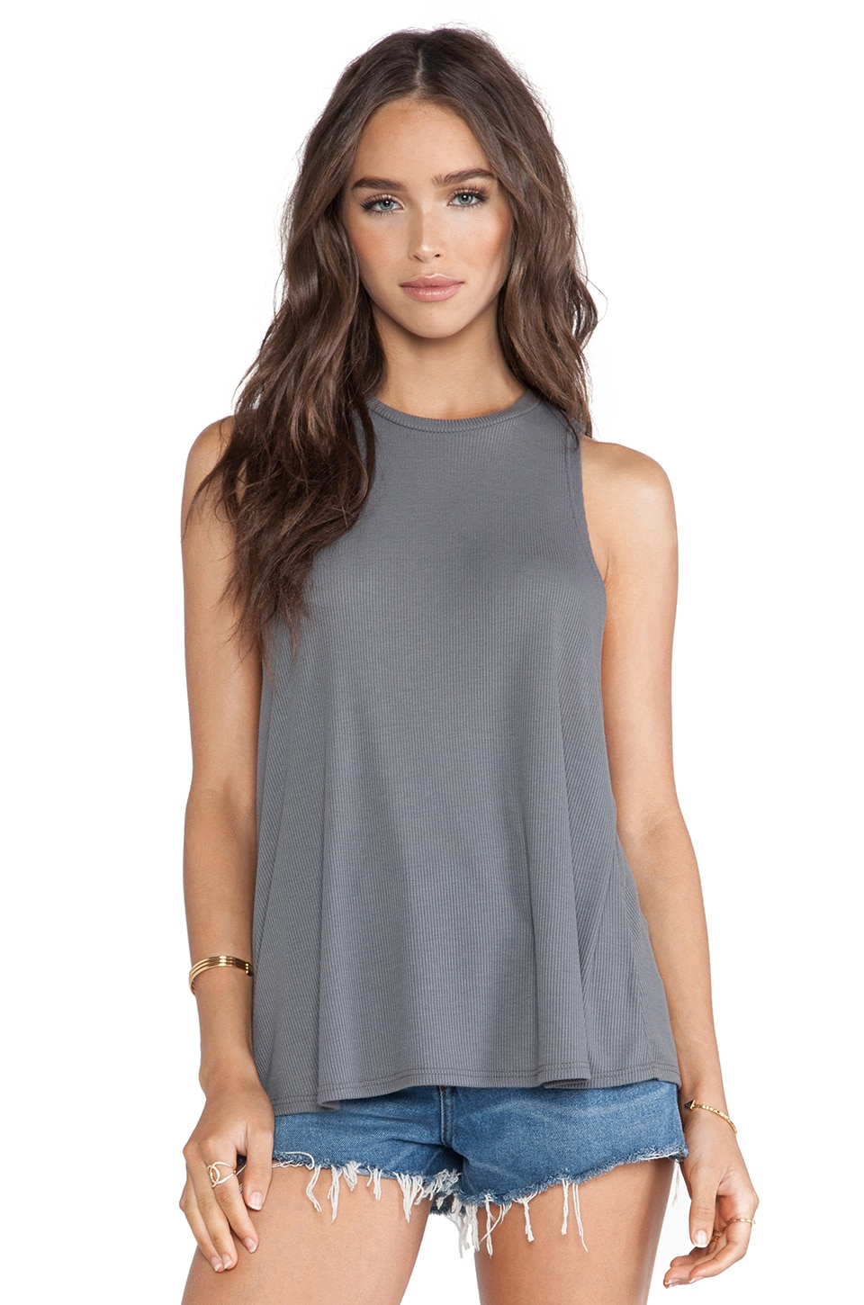 Blue Life Boyfriend Tank in Smokey Grey
