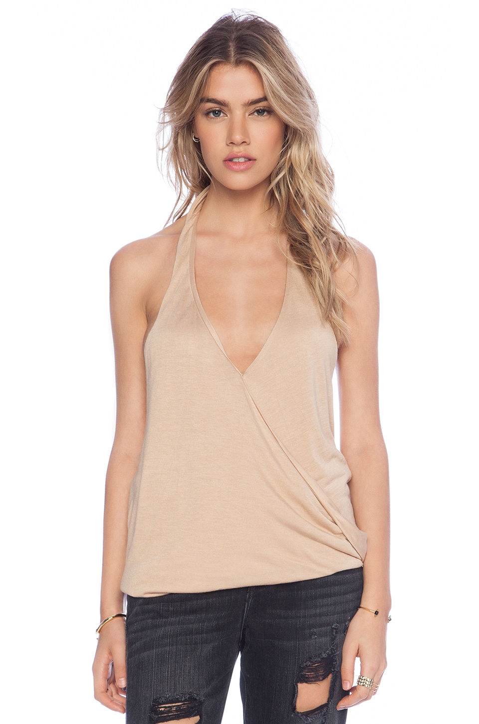 Blue Life Cowl Back Hayley Halter Top in Nude