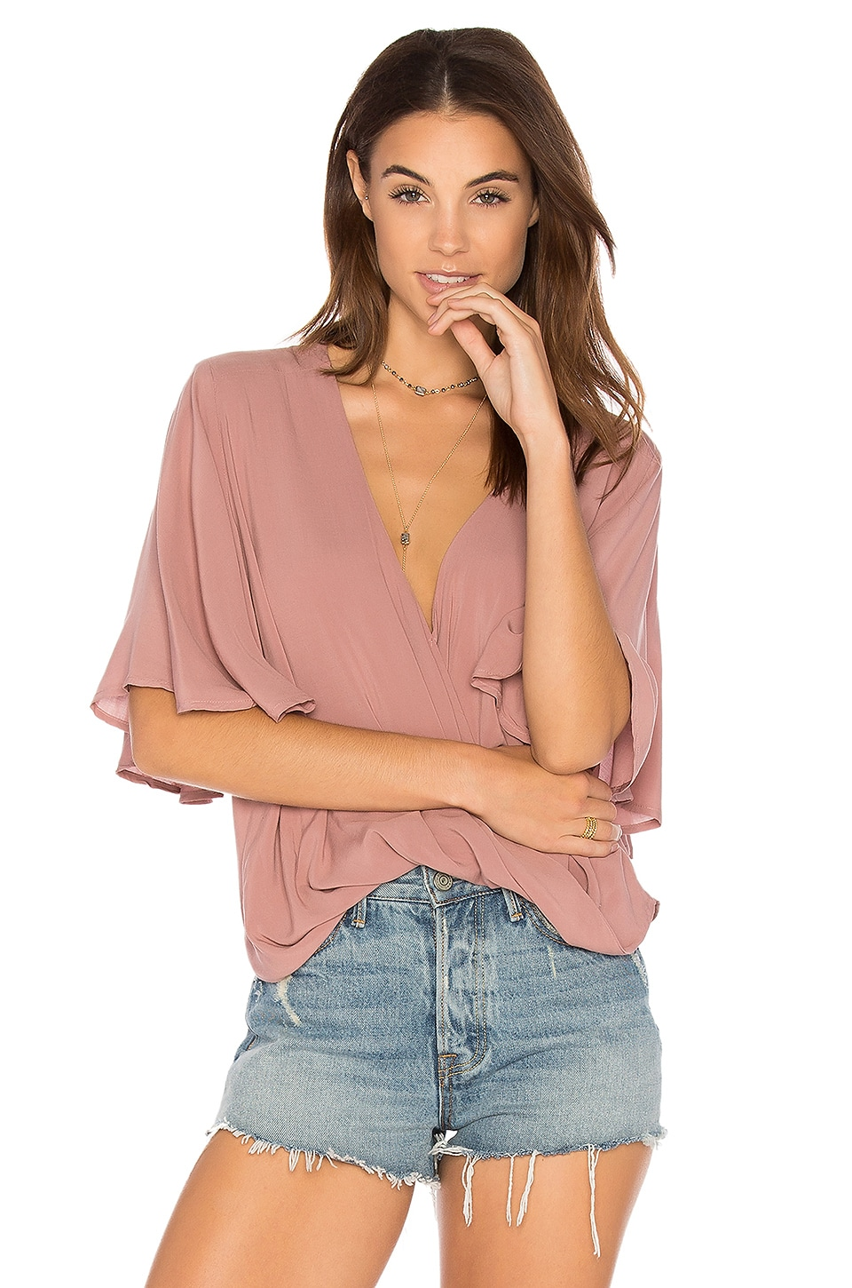 Blue Life Waterfall Blouse in Rose Solid