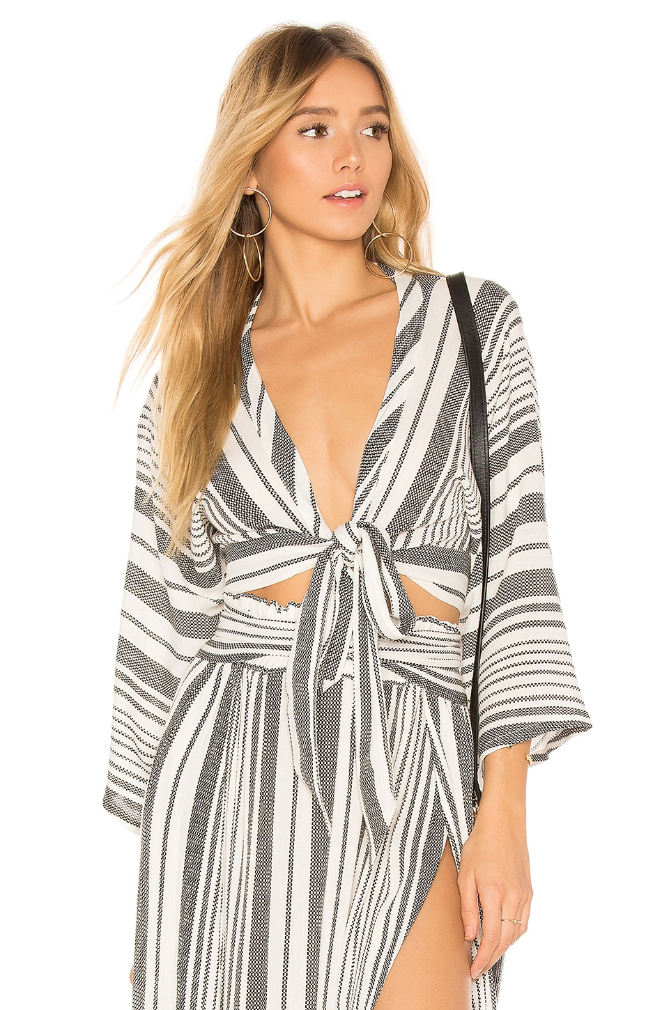 Blue Life Wrapped Top in Boho Stripe