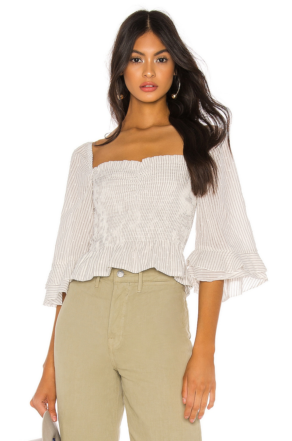 Blue Life Layla Crop Top in White & Grey Stripe