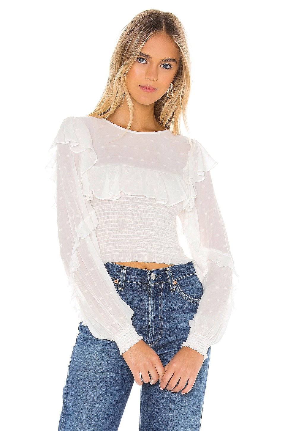 Blue Life Victoria Top in Swiss Dot Ivory