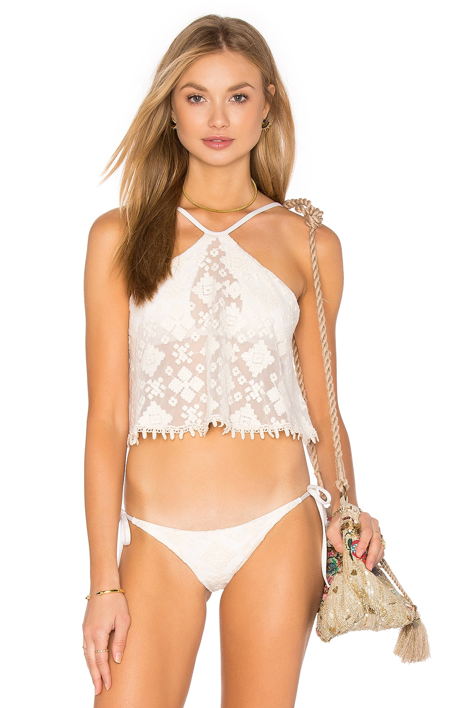 Blue Life Tribal Halter Crop Bikini Top in White Sands