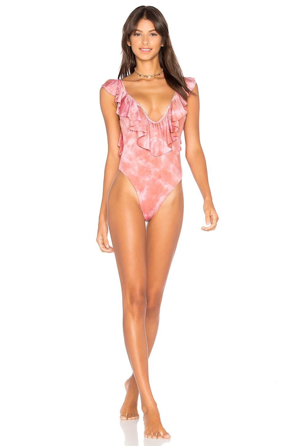 Blue Life Flutter One Piece in Flamingo Tie Dye