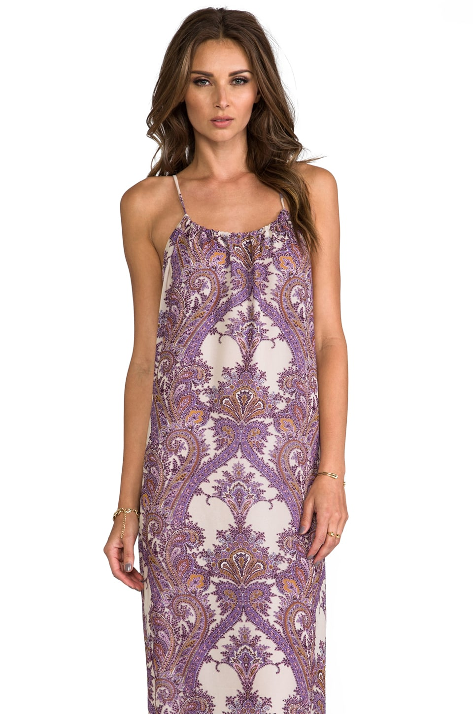 Blu Moon Sayrd Maxi Dress in Purple Paisley