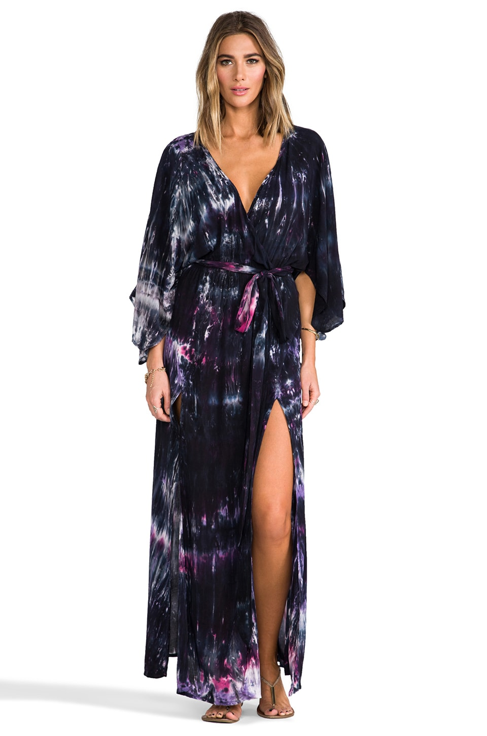 Blu Moon Angel Sleeve Slits Maxi in Galaxy