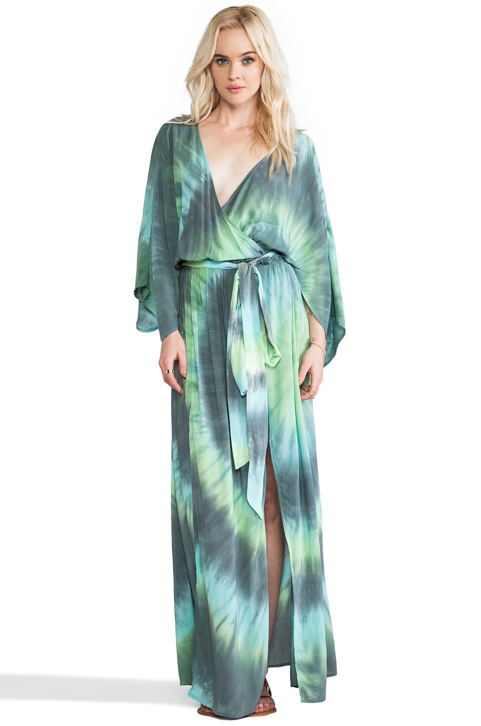 Blu Moon Angel Sleeve Maxi Dress in Tides