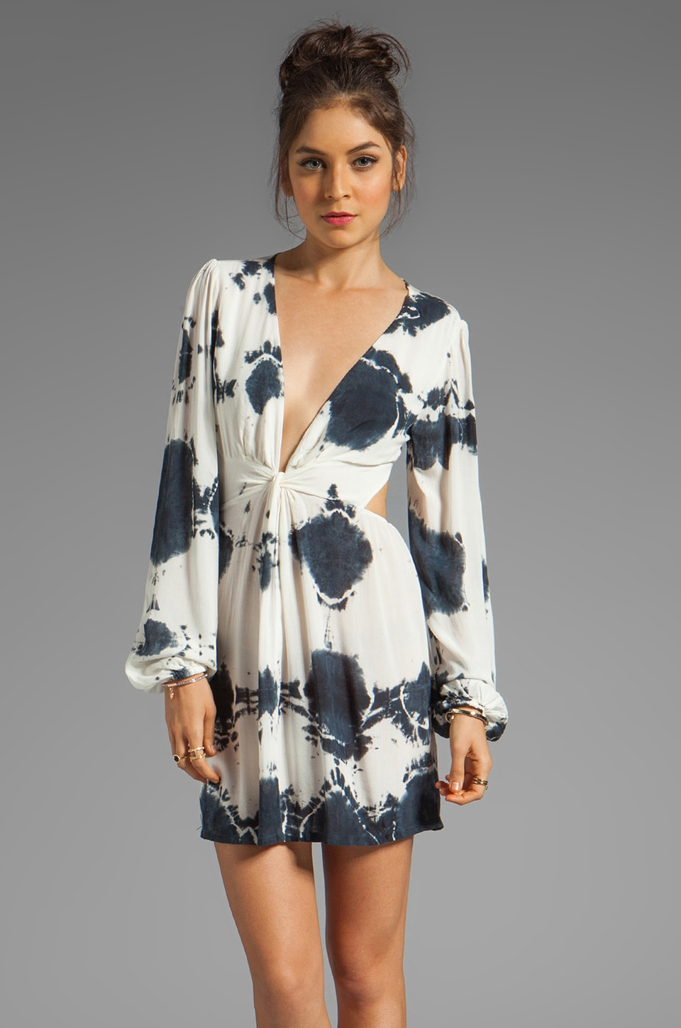 Blu Moon Short Bell Sleeve Twist Dress in Black and White Tie Dye