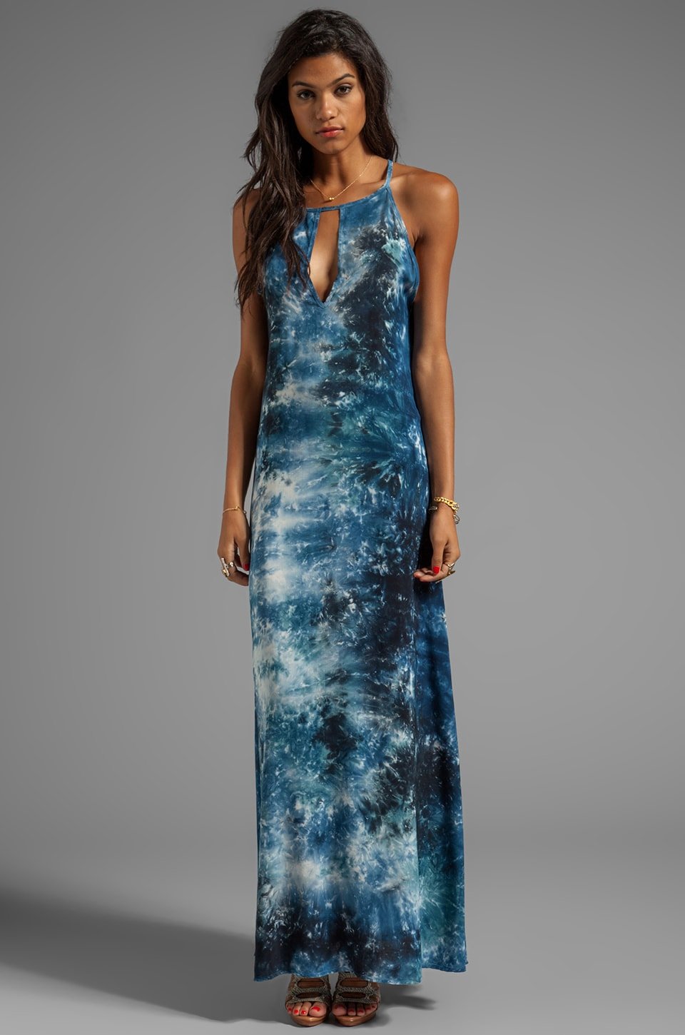 Blu Moon Key Hole Tank Dress in Storm