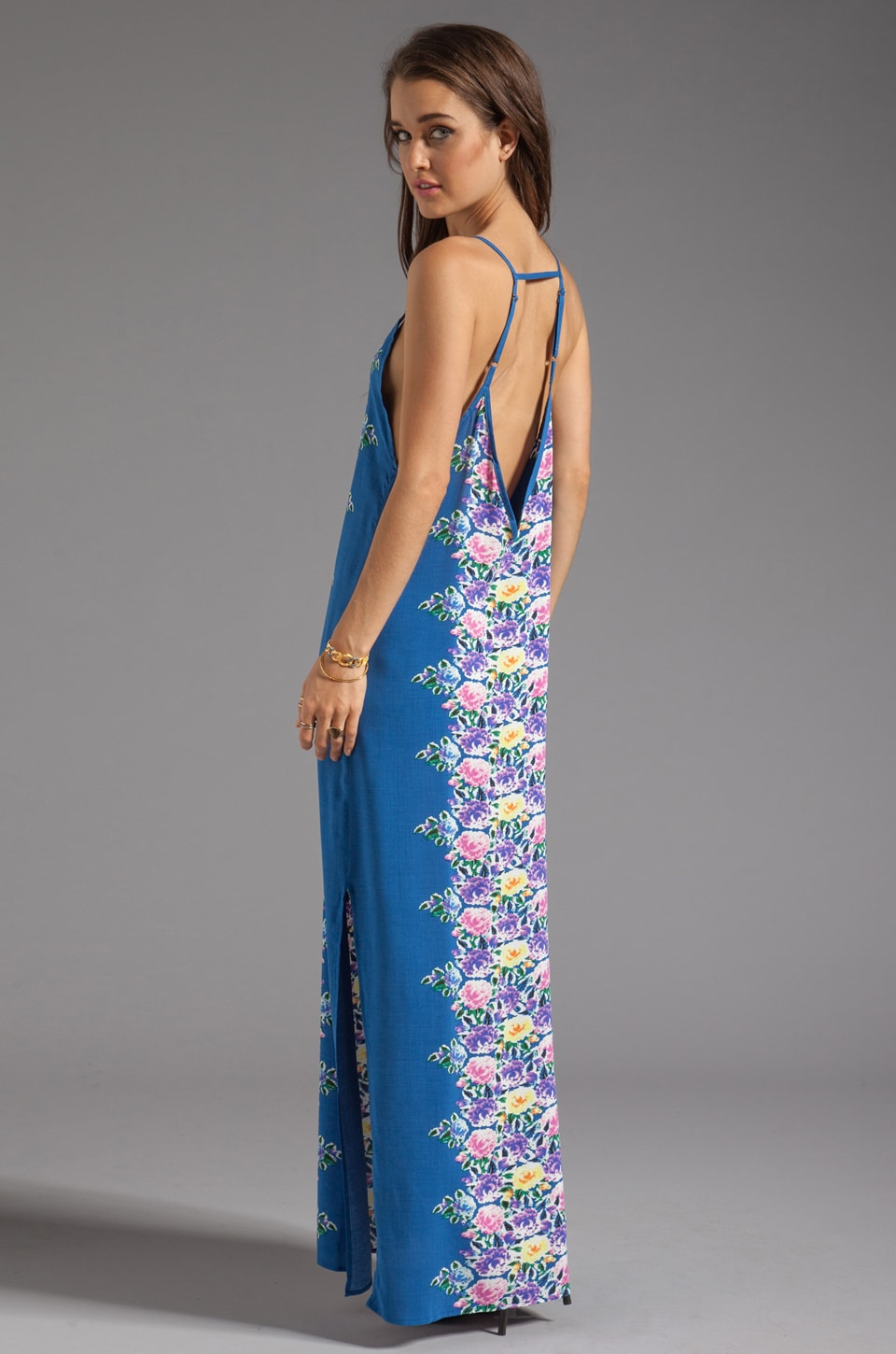 Blu Moon Azalea Deep V Dress in Cobalt